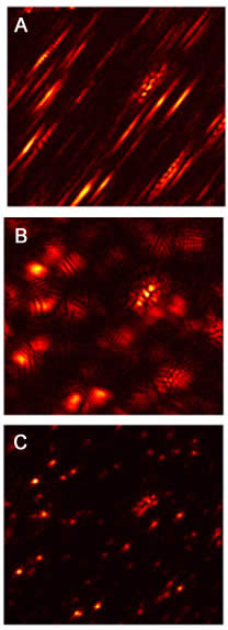 Aberrations in imaging can make points appear as slashes or blurs (a. OCT). Computational adaptive optics developed by U. of I. researchers correct aberrations in high resolution microscopy ( b. Aberrration - corrected OCT and c. Aberration-corrected ISAM). Graphic by Steven Adie